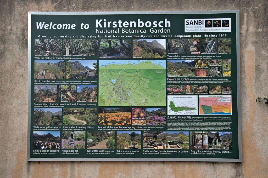 Am Eingang zum Kirstenbosch Botanischer Garten.